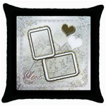 Wedding love gold white throw pillow case - Throw Pillow Case (Black)