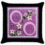 Spring Purple pink throw pillow case - Throw Pillow Case (Black)