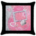 Spring pink heart love throw pillow case - Throw Pillow Case (Black)