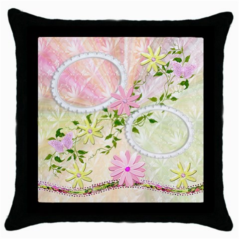 Spring Flower Pink Throw Pillow Case By Ellan   Throw Pillow Case (black)   1gcotkqhxy5l   Www Artscow Com Front