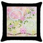 Spring flower pink throw pillow case - Throw Pillow Case (Black)