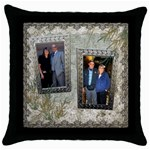 Neutral shadow frame throw pillow case - Throw Pillow Case (Black)