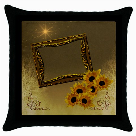 Neutral Gold Sunflower Throw Pillow Case By Ellan   Throw Pillow Case (black)   Lu92b161edtf   Www Artscow Com Front