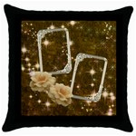 Neutral gold star rose throw pillow case - Throw Pillow Case (Black)