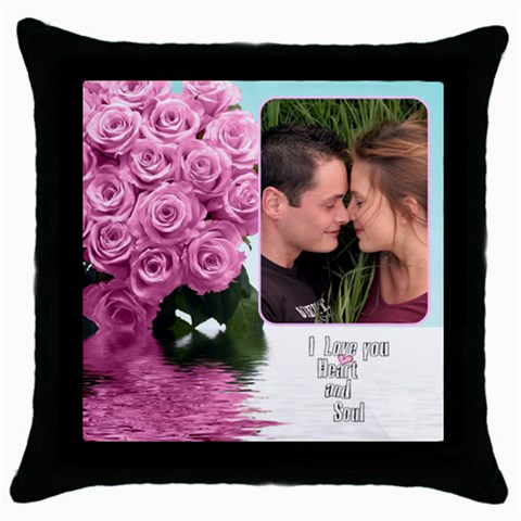 Pink Heart And Soul By Deborah   Throw Pillow Case (black)   Izmibh8sf5ko   Www Artscow Com Front