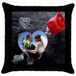 Red Rose Throw Pillow - Throw Pillow Case (Black)