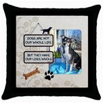 Dogs Throw Pillow - Throw Pillow Case (Black)