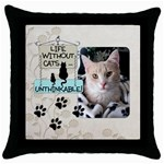 Cats Throw Pillow - Throw Pillow Case (Black)