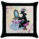 blk poodle dressing table grunge bkgrnd scrolls Throw Pillow Case (Black)