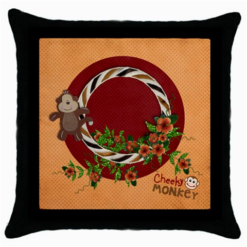 Cheecky Monkey/kids  Pillow (1side) By Mikki   Throw Pillow Case (black)   9av0sfitok5m   Www Artscow Com Front