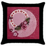 Pink Floral/Lace- pillow (1side) - Throw Pillow Case (Black)