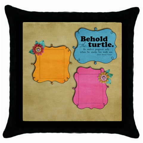 Behold The Turtle/friends  Pillow (1side) By Mikki   Throw Pillow Case (black)   Jh604t33f2qz   Www Artscow Com Front
