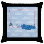 Tiny Pilot-helicopter- pillow (1side) - Throw Pillow Case (Black)
