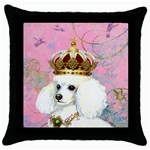 White Poodle Princess Throw Pillow Case (Black)