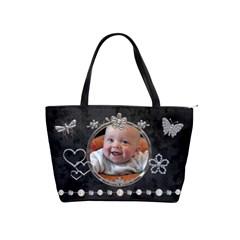 Pretty Black & Sparkle Classic Shoulder Handbag By Lil    Classic Shoulder Handbag   Cecw8r75v9u4   Www Artscow Com Front