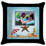 The Beach Throw Pillow - Throw Pillow Case (Black)
