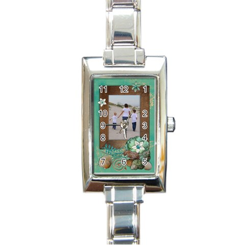 Vacation/beach/travel Rec Italian Charm Watch By Mikki   Rectangle Italian Charm Watch   2yax6yqmq0un   Www Artscow Com Front