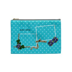 Cosmetic Bag (medium)  Ribbon And Flowers By Jennyl   Cosmetic Bag (medium)   49hb8v02kyb7   Www Artscow Com Front