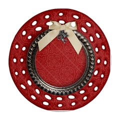 Holiday/blessings/angel Round Filigree Ornament (two Sides)  By Mikki   Round Filigree Ornament (two Sides)   Ggqfx45qwas2   Www Artscow Com Back