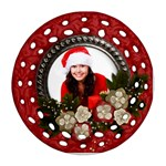 Christmas/Flowers-round filigree ornament (2 sides) - Round Filigree Ornament (Two Sides)