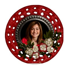 Christmas/flowers Round Filigree Ornament (2 Sides) By Mikki   Round Filigree Ornament (two Sides)   K03nuhlfshe7   Www Artscow Com Back