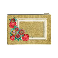 Love/shabby/flowers Cosmetic Bag (large)  By Mikki   Cosmetic Bag (large)   Fg13u4zpf8x0   Www Artscow Com Back