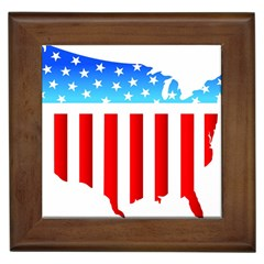 Usa Flag Map Framed Ceramic Tile by level3101