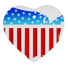 Usa Flag Map Ceramic Ornament (heart) by level3101