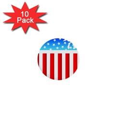 Usa Flag Map 10 Pack Mini Button (round) by level3101