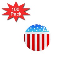 Usa Flag Map 100 Pack Mini Magnet (round) by level3101