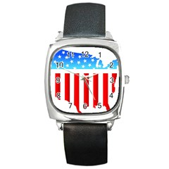 Usa Flag Map Black Leather Watch (square) by level3101