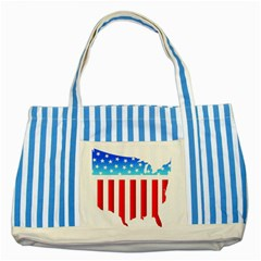 Usa Flag Map Blue Striped Tote Bag by level3101