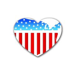 Usa Flag Map Rubber Drinks Coaster (heart) by level3101