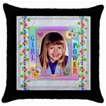 Girl Power Throw Pillow - Throw Pillow Case (Black)