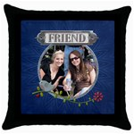 Friend Throw Pillow - Throw Pillow Case (Black)