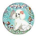 Poodle Cupcake Round Filigree Ornament (Two Sides)