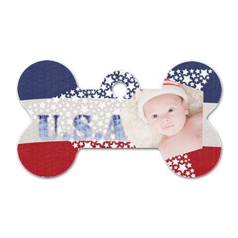 Usa By Joely   Dog Tag Bone (one Side)   Dcka2kl7eh52   Www Artscow Com Front