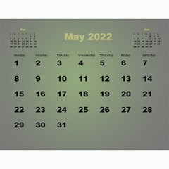 Styled In Green 2017 Calendar (large Numbers) By Deborah   Wall Calendar 11  X 8 5  (12 Months)   Pmvjg0m26eww   Www Artscow Com May 2017