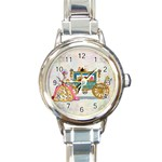Marie And Carriage W Cakes  Squared Copy Round Italian Charm Watch