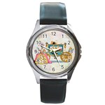 Marie And Carriage W Cakes  Squared Copy Round Metal Watch