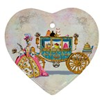 Marie And Carriage W Cakes  Squared Copy Ornament (Heart)