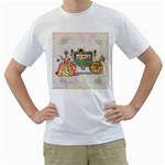 Marie And Carriage W Cakes  Squared Copy White T-Shirt