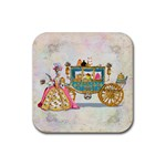Marie And Carriage W Cakes  Squared Copy Rubber Square Coaster (4 pack)