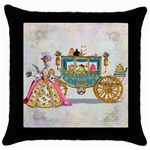 Marie And Carriage W Cakes  Squared Copy Throw Pillow Case (Black)