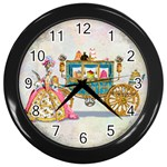 Marie And Carriage W Cakes  Squared Copy Wall Clock (Black)