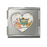 Marie And Carriage W Cakes  Squared Copy Mega Link Heart Italian Charm (18mm)