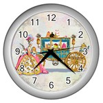 Marie And Carriage W Cakes  Squared Copy Wall Clock (Silver)