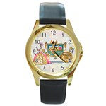 Marie And Carriage W Cakes  Squared Copy Round Gold Metal Watch