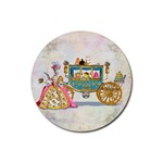 Marie And Carriage W Cakes  Squared Copy Rubber Coaster (Round)
