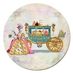 Marie And Carriage W Cakes  Squared Copy Magnet 5  (Round)